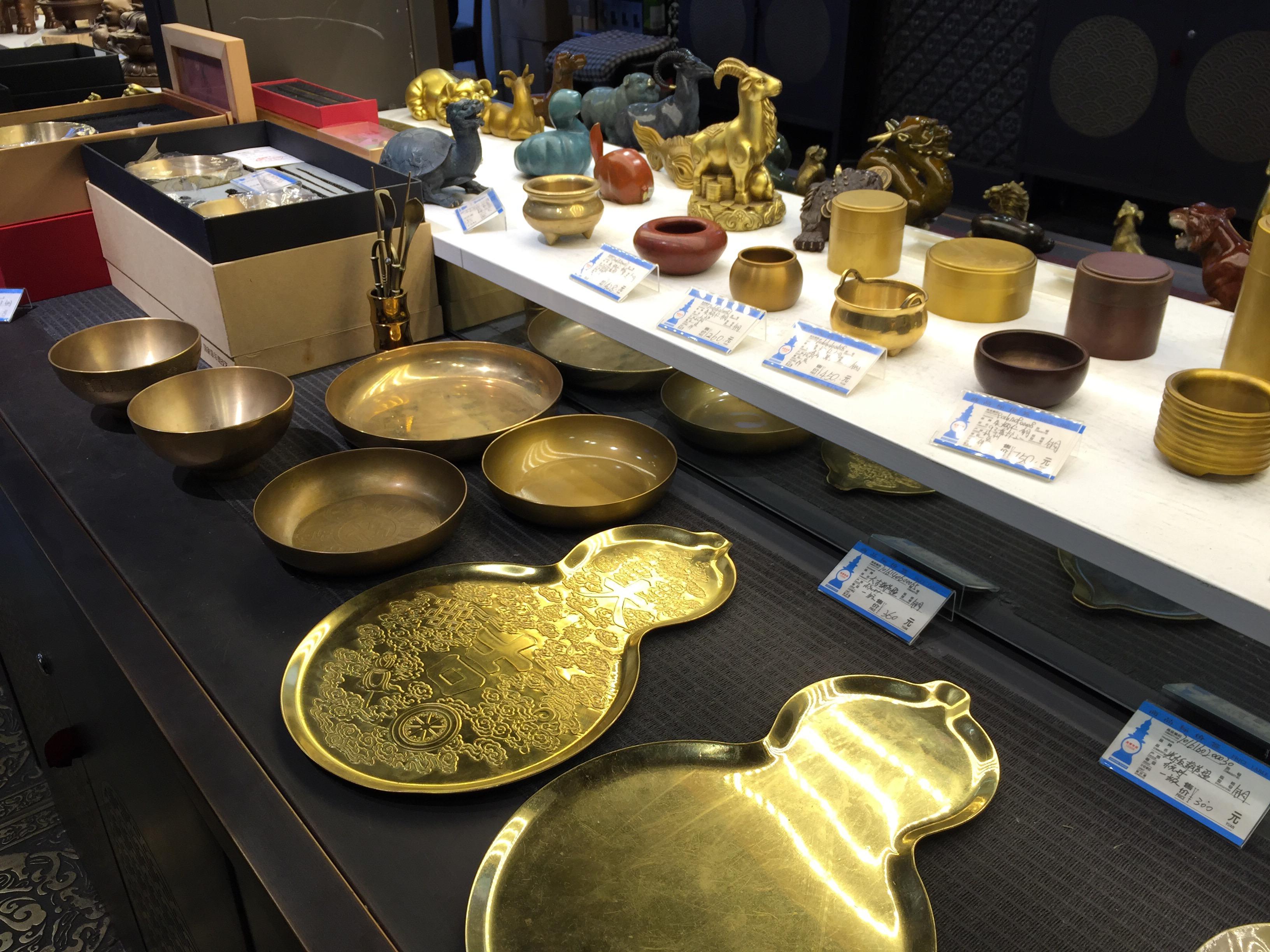 杭州の河坊街の真鍮(銅)製品専門店